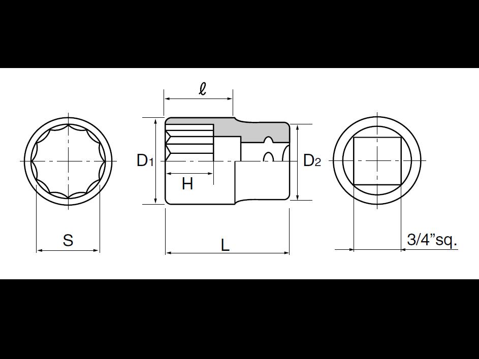 ลูกบ๊อกซ์ 12 เหลี่ยม 3/4 B40-30