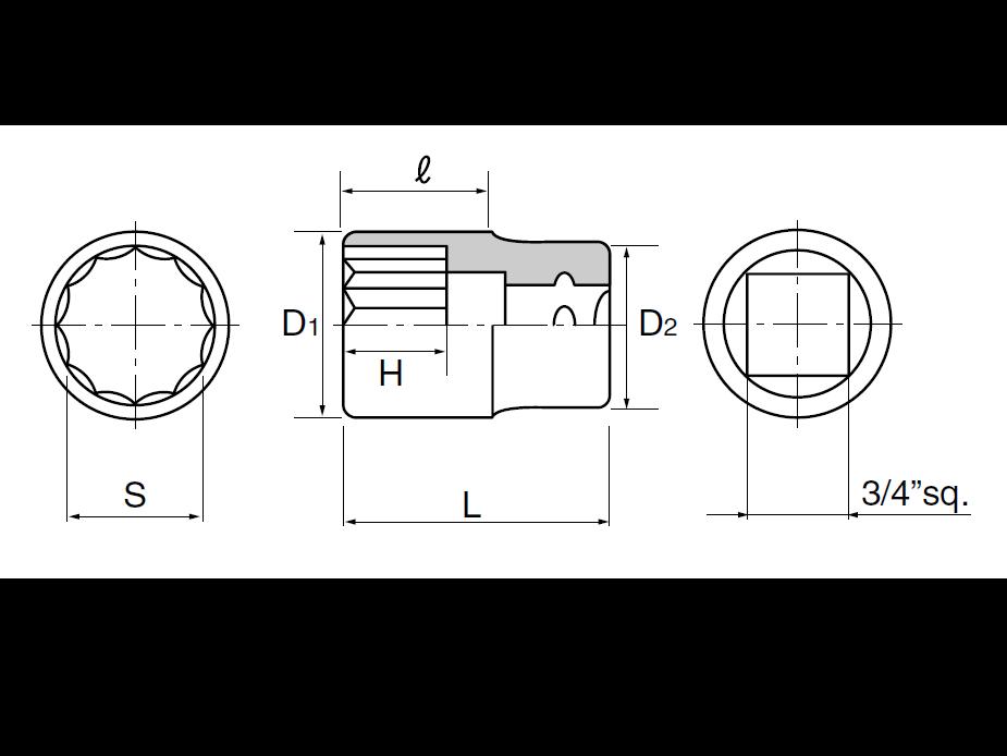 ลูกบ๊อกซ์ 12 เหลี่ยม 3/4 B40-57